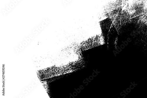 Obraz na plátně  black white paint background texture with grunge brush strokes