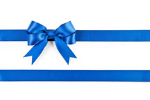 Blue Bow And Ribbon Isolated O...
