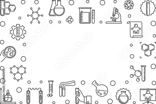 Photo  Chemistry Science horizontal frame with empty space - vector illustration made w