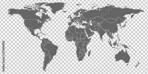 Fototapeta World Map vector. Gray similar world map blank vector on transparent background.  Gray similar world map with borders of all countries.  High quality world  map.  Stock vector. Vector illustration EPS obraz