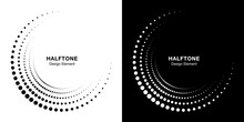 Set Of Halftone Incomplete Circle Frame Dots Logo Isolated On Background. Circular Part Design Element For Treatment, Technology. Half Round Border Icon Using Halftone Circle Dots Texture. Vector
