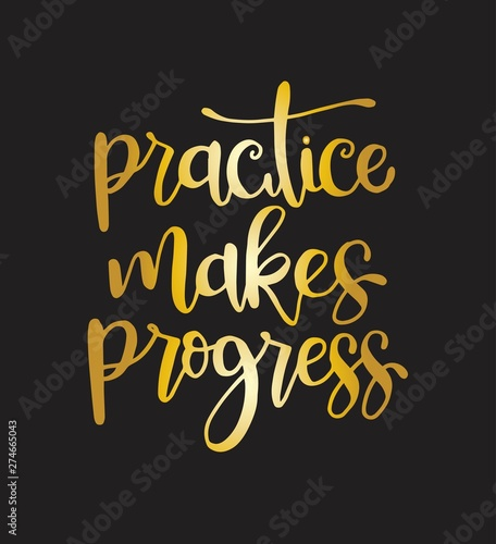 Pinturas sobre lienzo  Practice makes progress, hand drawn typography poster
