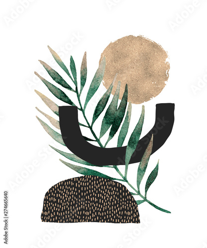 Photo sur Aluminium Empreintes Graphiques Abstract poster design: minimal shapes, glossy golden tropical leaf.