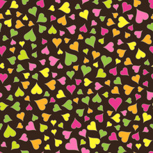 Abstract Seamless Pattern Of Bright Colored Hearts On Dark Brown Backdrop.