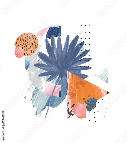 Photo sur Toile Empreintes Graphiques Acrylic, oil paint rough smears, blots, texture, watercolor tropical leaf art