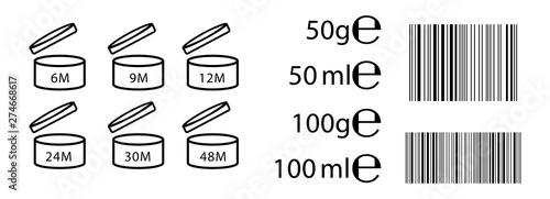 Fotografia  E sign (e-mark) for estimated weights and volumes