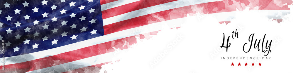 Fototapety, obrazy: happy Independence Day greeting card american flag grunge background