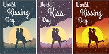 Set Of Card Or Flyer For World Kiss Day. Romantic Background Outdoor - Kissing Man And Woman Under A Tree On Summer Sunset Landscape. Flat Template For Social Poster, Banner, Media Stories.