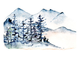 Fototapeta na wymiar Mountains, forest nature landscape. Watercolor wildlife. Perfectly for tourism and outdoor design. Hand painting sketch scenery. Illustration isolated on white background.
