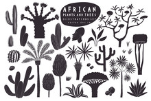 Fun Hand Drawn African Plants Illustration Set. Cactuses, Palms, Exotic Trees Vector Illustrations. Linocut Style.