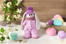 Knitted Toy Rabbit Handmade On...