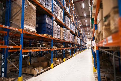 Valokuva  Interior of large distribution warehouse