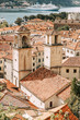 Tiled roofs in Montenegro and Europe. Panorama of the city of Kotor from the height of the mountain.