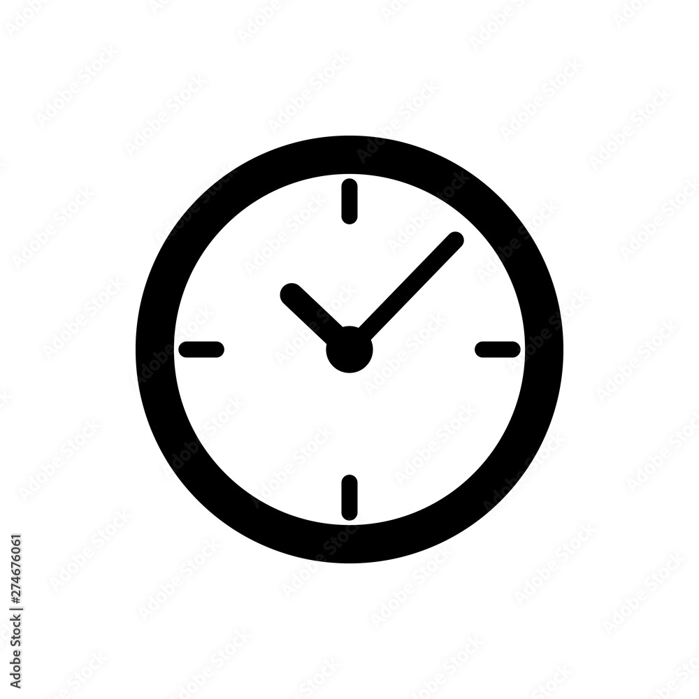 Fototapety, obrazy: Black Clock icon isolated on white background. Vector Illustration