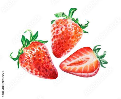 Watercolor red juicy strawberries with half berry. Food background, painted bright composition. Hand drawn food illustration. Fruit print. Summer sweet fruits and berries. Fototapete