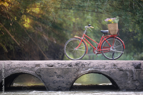 Door stickers Bicycle Old red bicycle on old bridge