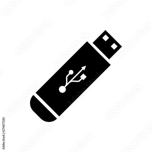 Obraz Black USB flash drive icon isolated on white background. Vector Illustration - fototapety do salonu