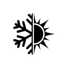 Black Hot And Cold Symbol. Sun...