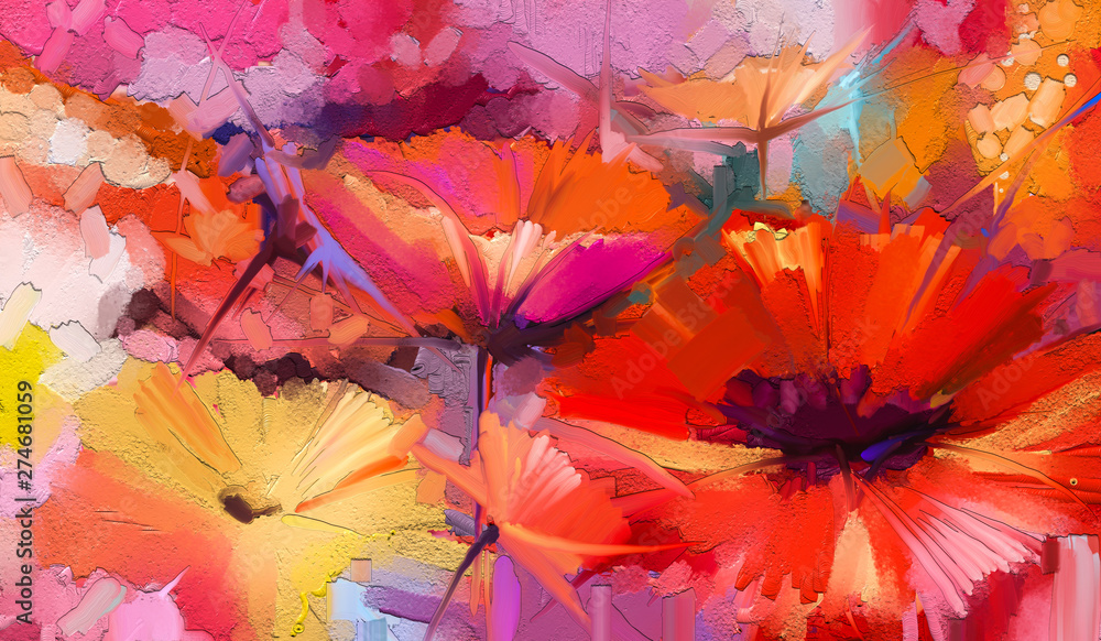 Fototapety, obrazy: Abstract colorful oil, acrylic painting of spring flower. Hand painted brush stroke on canvas. Illustration oil painting floral for background. Modern art paintings flowers with yellow, red color.