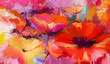 Leinwandbild Motiv Abstract colorful oil, acrylic painting of spring flower. Hand painted brush stroke on canvas. Illustration oil painting floral for background. Modern art paintings flowers with yellow, red color.