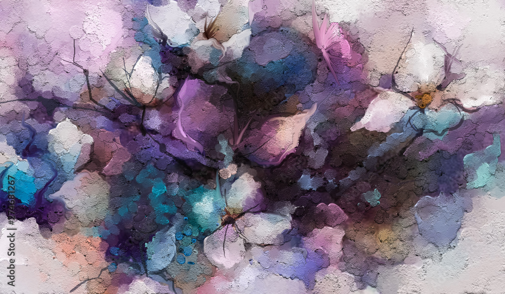 Fototapeta Abstract colorful oil, acrylic painting of spring flower. Hand painted brush stroke on canvas. Illustration oil painting floral for background. Modern art paintings flowers with purple red color.