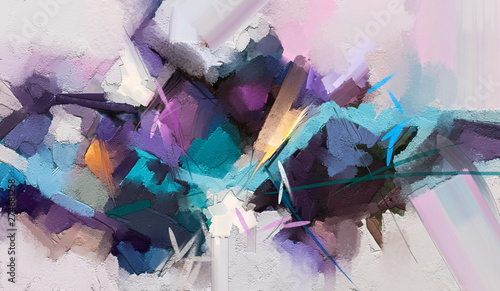 Photographie Abstract colorful oil painting on canvas texture