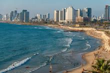 Panoramic View Of The Coastline Of Tel Aviv, Israel
