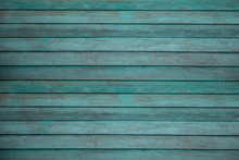Vintage Beach Wood Background - Old Weathered Wooden Plank Painted In Turquoise Or Blue Sea Color.