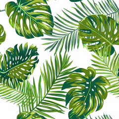 Retro dark palm leaves background pattern, tropical jungle illustration texture in vector for wallpaper, print, brochure, design