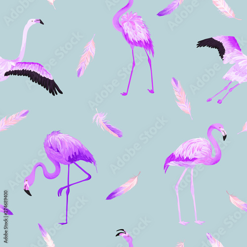Canvas Prints Flamingo Bird Tropical Flamingo seamless vector summer pattern with pink feathers. Bird background for wallpapers, web page, texture, textile.