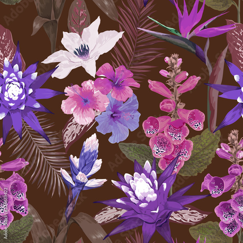a6060486c32a3 Seamless tropical leaves and flowers, tropic background pattern in ...