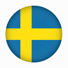 Sweden Flag In Circle Shape, Scandinavian Country, Isolated Swedish Banner With Scratched Texture, Grunge.