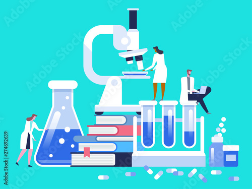 Stampa su Tela Medical laboratory research with microscope, science glass test tube, books and pills