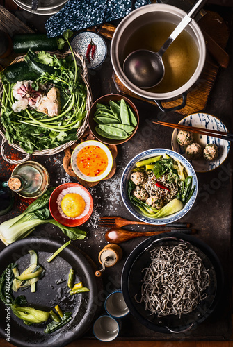 Photo  Top view of Asian food dishes