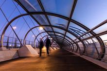View On The Blue Hour Of The Third Millennium Bridge In Zaragoza, Spain