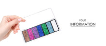 Glitter Palette Sparkles Beauty Makeup In Hand Pattern On White Background Isolation