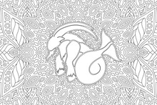 Adult Coloring Book Page With Capricorn Silhouette
