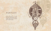 Fantasy. Medieval Castle And Girl On Swing Flies To Sky. Symbol Of Dream, Love, Imagination. Renaissance Background. Medieval Manuscript, Engraving Art