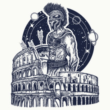 Spartan Gladiator Warrior And Coliseum In Rome. Tattoo And T-shirt Design Print. Symbol Of Bravery, Force, Army