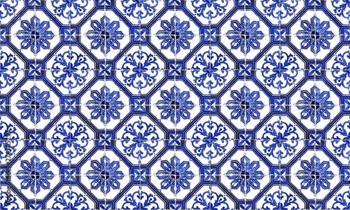 Leinwand Poster Seamless Portugal or Spain Azulejo Wall Tile Background