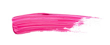 Pink Strokes And Texture Mascara Or Acrylic On A White Background