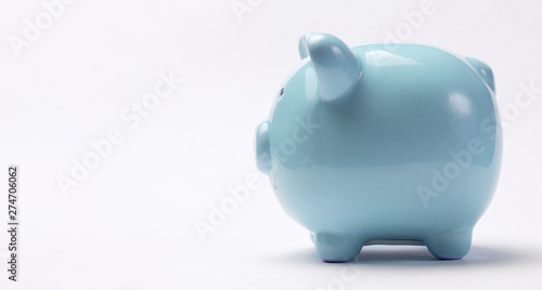 Fototapeta  Piggy bank isolated on white background. View from above.