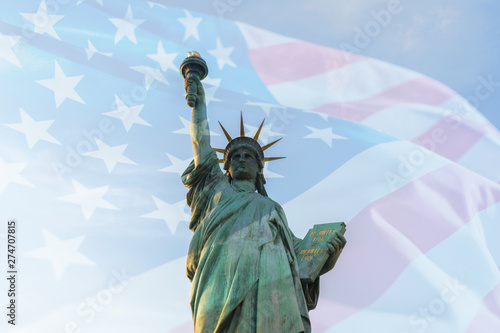 Tablou Canvas Double exposure with USA American flag waving and statue of liberty for Memorial Day or Independence Day