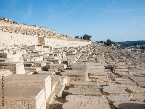 Fotografía Jewish graveyard at the Mount of Olives near the Kidron Valley or King's Valley,