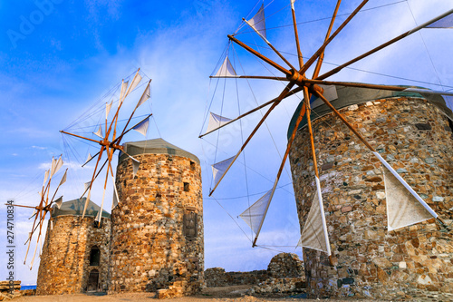 Traditional Greece series - windmills of Chios island.eastern Aegean