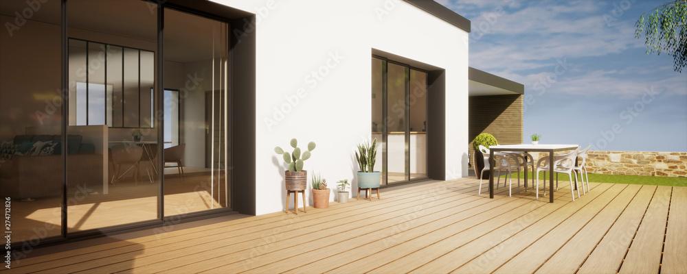Fototapeta vue 3d terrasse avec plantes