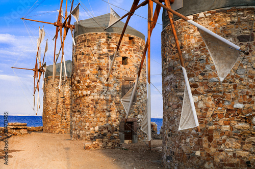 Traditional Greece series - windmills of Chios island. Eastern Aegean