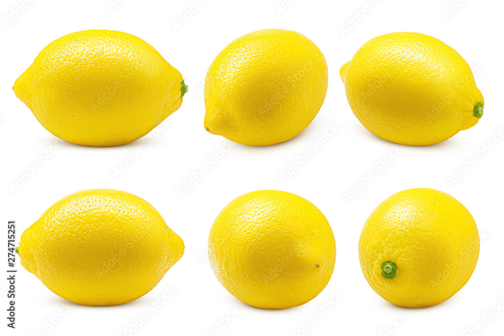 Fototapety, obrazy: Whole lemon isolated on white background, clipping path, full depth of field