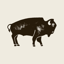 Bison Silhouette Icon. Vector Hand Draw Bison Symbol Of America In Retro Style With Grunge Texture