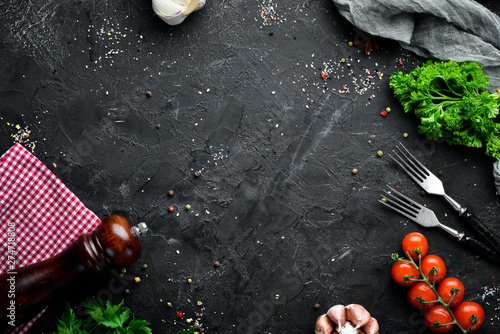 Cooking banner. Fresh vegetables and spices. Top view. Free space for your text. - 274718808